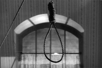 Jacqueline's noose in The Seventh Victim produced by Val Lewton for RKO Radio Pictures, directed by Mark Robson, starring Tom Conway, Jean Brooks, Isabel Jewell, Kim Hunter, and Hugh Beaumont